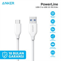 Kabel Charger Anker PowerLine 3ft USB-C to USB 3.0 A8163 White