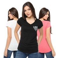 (POP UP AIA) Blouse Branded Wanita V-Neck Love
