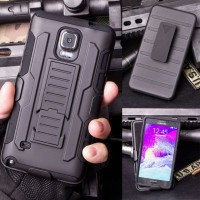 Back Cover Case Samsung Galaxy Note 4 Armor Military Hybrid Belt Stand 3 in 1 Casing