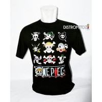 Kaos Distro Anime One Piece Skull Logo Hitam