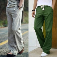[globalbuy] Free delivery sell like hot cakesMen linen trousers high quality beach pants c/4092814