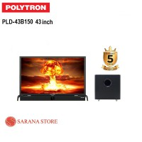 JABODETABEK ! POLYTRON TV LED 43 INCH TYPE 43B150 + SOUNDBAR