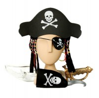 Set bajak laut anak pirates topi pedang anting penutup mata hook