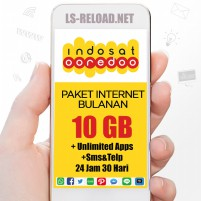 Indosat Paket Data Freedom U 10GB+25GB(Apps+YouTube+IG+Sms+Telp),30hr