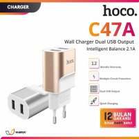 HOCO C47A Premium Wall Charger Dual USB Port Fast Charge 2.1A Kepala Charger