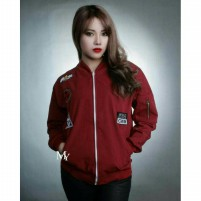Jaket Wanita Bomber Attention Maroon  a0462a1374