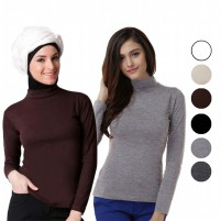 Manset Turtle Neck Low Neck Long Sleeves / Kaos Lengan Panjang / Turtleneck / Hitam / Putih / Abu Misty