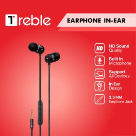 JY X Treble Earphone / Headset Stereo Earbuds with Mic Black - TER02
