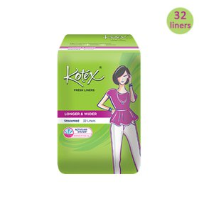 [KOTEX] FRESH LINERS LONGER AND WIDER Unscented isi 32 pcs