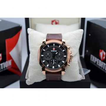 Expedition E6606 Rose Gold Plat Black Leather Original Brown For Men