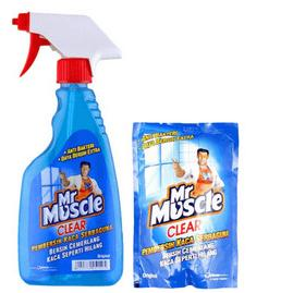 MR. Muscle Clear Glass Liquid Blue Kemasan Botol 500 ml & Refill 440 ml