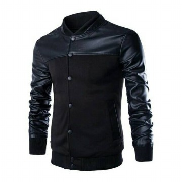 Baseball jacket Mens Black Coat Varsity