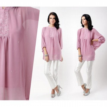 ACCENT - Shana Chiffon Solid Batwing Blouse Woman