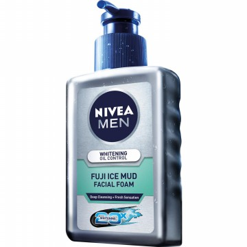 NIVEA MAN WHITENING OIL CONTROL FUJI ICE MUD SERUM FACIAL FOAM 120ml