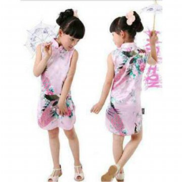 jual cheongsam anak, printed satin cute and lovely