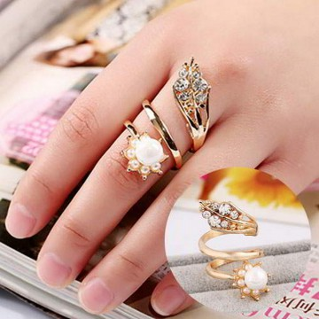 Cincin Korea Korean Fashion New Pearl Diamond R1KFPD