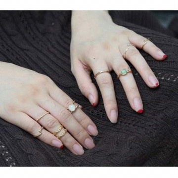 Cincin Korea Round Simple Rings 9 Pcs RBD575
