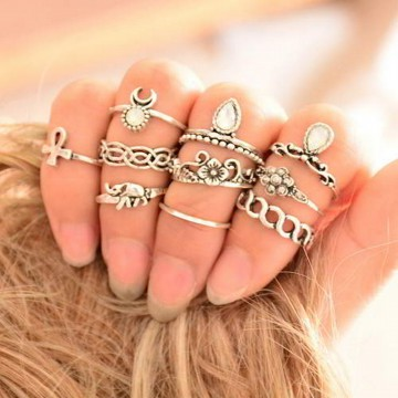 Cincin Korea Best Seller Rings Gemstone Waving Sets RB68FB