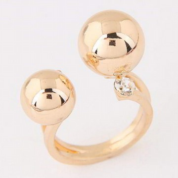 Cincin Korea Diamond Double Ball Decorated Opening Design T57DD7
