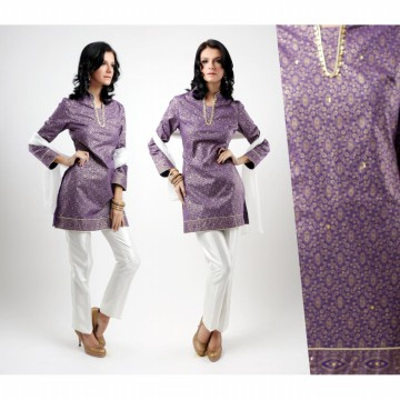 ACCENT - Purple gold cotton printed tunic
