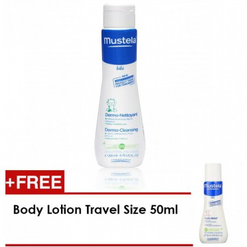 Mustela Bebe Dermo Cleansing Gel - 200ml (FREE Travel Size Lotion 50ml)