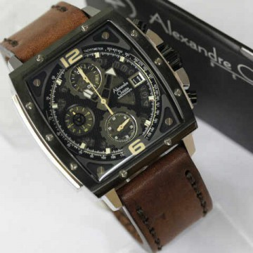 Alexandre Christie 6376 Silver Combi Dark Brown Leather