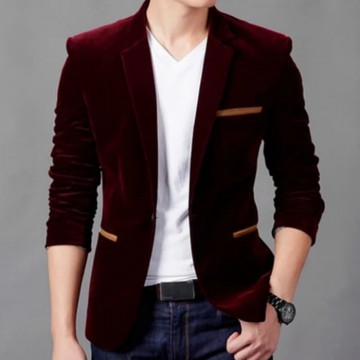 JAS BLAZER WILLY MAROON SC blazer pria katun stretch maroon KMS