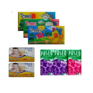 [Paket Travel] 3 Pack Tessa Travel 50's + 2 Pack Paseo Tissue Basah 10's + 6 Pack Paseo Handky 12's