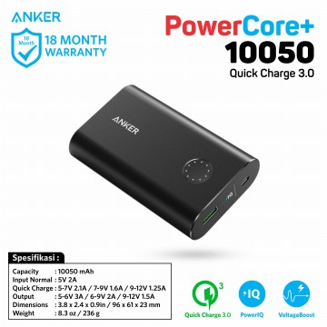 PowerBank Anker PowerCore+ 10050mAh Q.C 3.0 A1311 Black