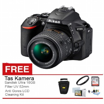 Nikon D5500 Kit 18-55mm VRII - 24 MP - Wifi - Touch Screen - Gratis Paket Accessories