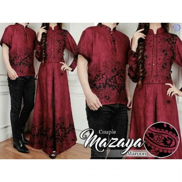 COUPLE BATIK MAZAYA MARON KATUN RAYON PRINTING FIT TO L