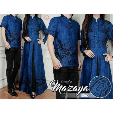 COUPLE BATIK MAZAYA BLUE KATUN RAYON PRINTING FIT TO L
