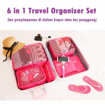 FIRSTPROJECT TAS KANTUNG PENYIMPANAN PENYUSUN KOPER 6 IN 1 SET BAGS IN BAG TRAVEL ORGANIZER POUCH