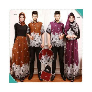 COUPLE BATIK MUSLIM ARINA DRESS FREE PASHMINA+KEMEJA