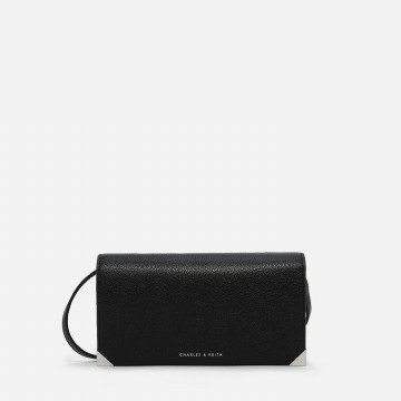 Charles & Keith Metallic Tip Wallet - Black (2327 Black)