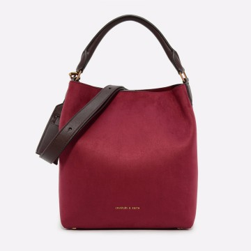 Charles & Keith Textured Hobo Bag - Red (2331 Red)