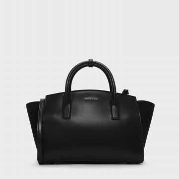 Charles & Keith Oversized Trapeze Bag - Black (2332 Black)