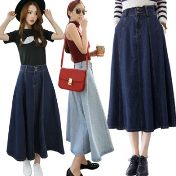 KOREAN STYLE ★ [#6065] Circle Pocket Denim Flare Skirt/Rok jeans wanita/Rok midi
