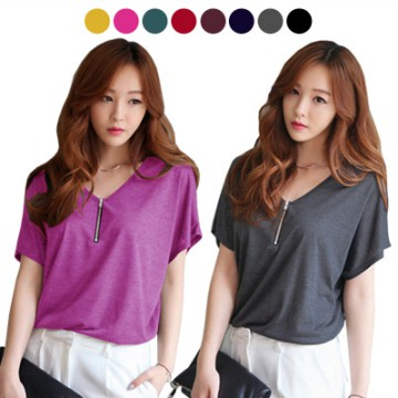 KOREAN STYLE ★ ZIPPER SHIRTS TEE / baju atasan wanita / blouse jumbo / tunic / longdress