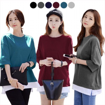 KOREAN STYLE ★ MOMO LAYERED TEE / Flippable Sleeve / baju atasan wanita / long dress / blouse / celana / atasan kerja
