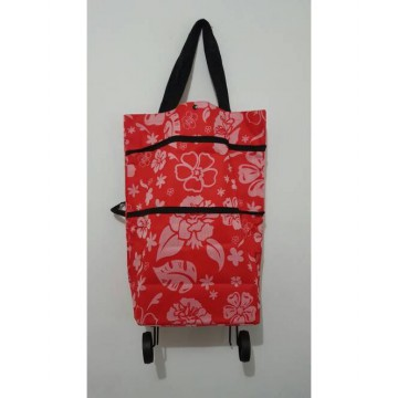 Tas Troli Lipat Bunga/ Foldable Shopping Trolley Bag Flower