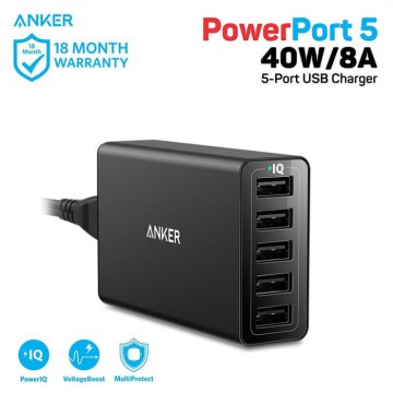 Wall Charger Anker PowerPort 5 40W A2124 Black