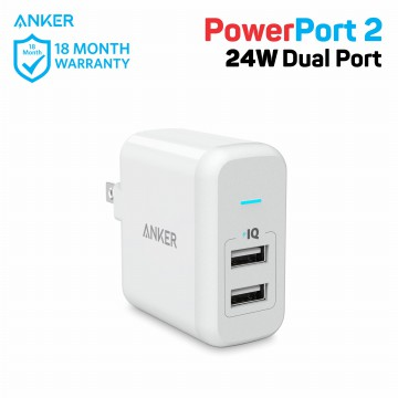 Wall Charger Anker PowerPort 2 24W A2141 White