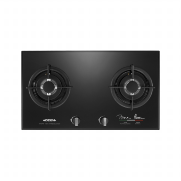 MODENA BH 1725 MC MAESTRO - Kompor Tanam Built-In Hob Gas 70 cm, 2 Burners - Kaca Hitam