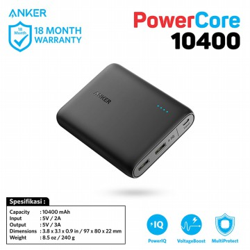 Anker PowerBank PowerCore 10400mAh Black - A1214H11