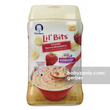 Gerber Lil' Bits Oatmeal Banana Strawberry Cereal 227 gram