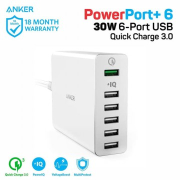 Wall Charger Anker PowerPort+ 6 QC 3.0 A2063 White