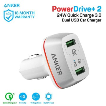 Car Charger Anker PowerDrive+ 2 with QC 3.0 A2224 White