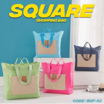 Folding Bag SQUARE Nylon / Tas Lipat / Foldable Bag / Hand Carry Travel - BGF-52