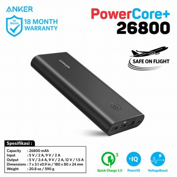 PowerBank Anker PowerCore+ 26800mAh QC 3.0 A1374 Black